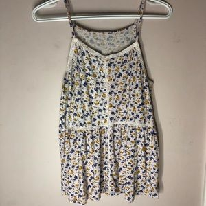 American Eagle Floral White Tank Top